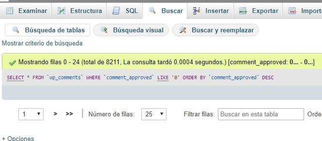 8211 comentarios de Wordpress en wp_commets