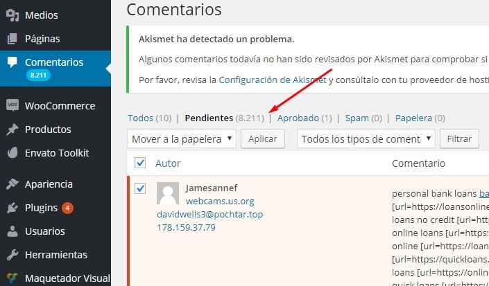 Comentarios pendientes - Wordpress