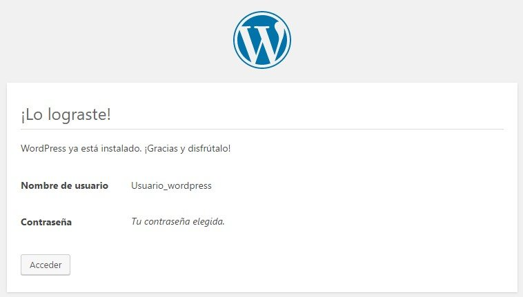 Instalacion Wordpress finalizada