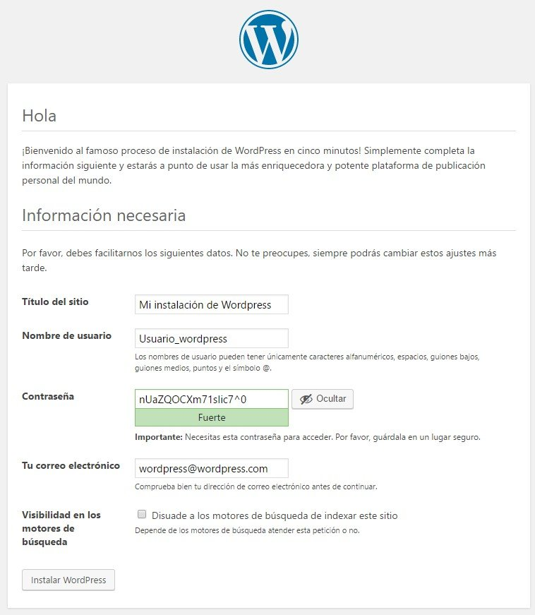Instalacion Wordpress paso final