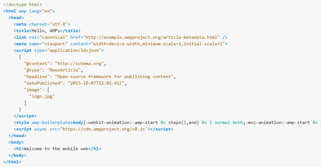 AMP HTML ejemplo