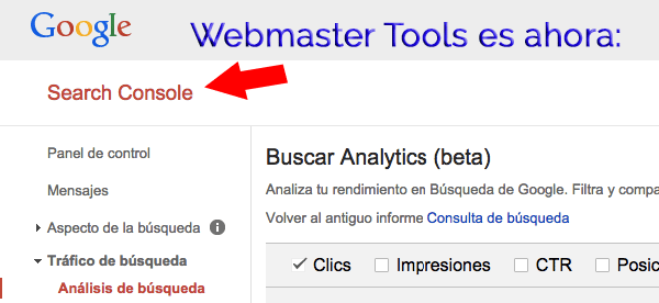 Google Search Console sustituye a Google Webmaster tools