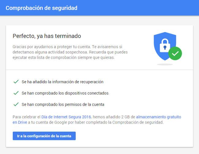 Comprobación de seguridad Google