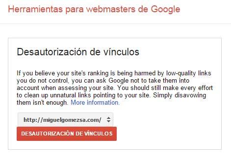 Desautorización de vínculos de nuestra web Google