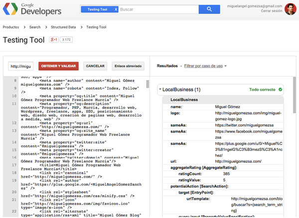 Testing tools de snippets Google
