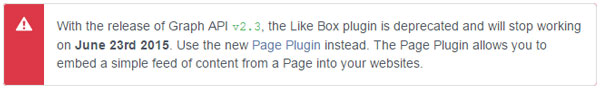 Facebook like box deprecated