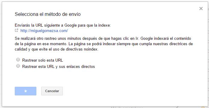 método de envío a google