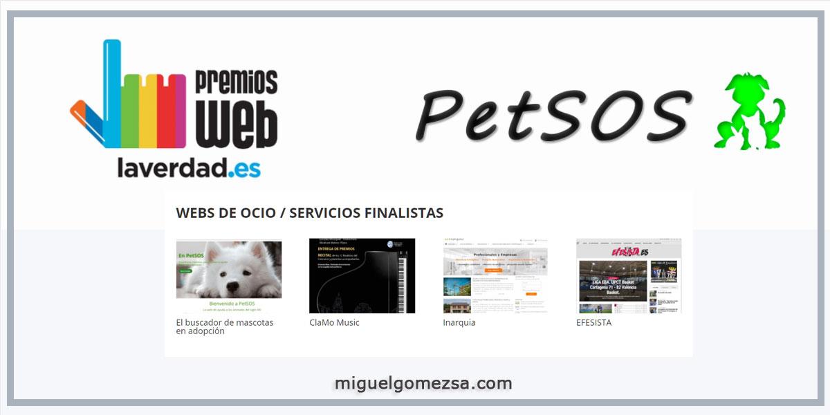 Petsos.es finalista en los Premios Web X Edición - La Verdad 2018