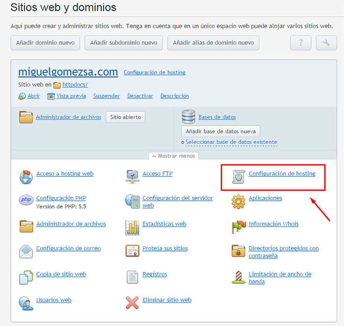 Configuración de hosting  - Plesk 12