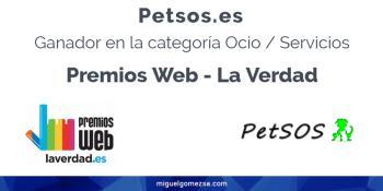 Ganador Premios Web La Verdad 2018 con petsos.es